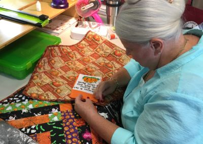 Working hard on a Quilt